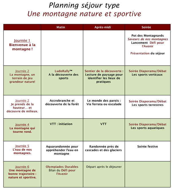 montagne sejour nature sport planning